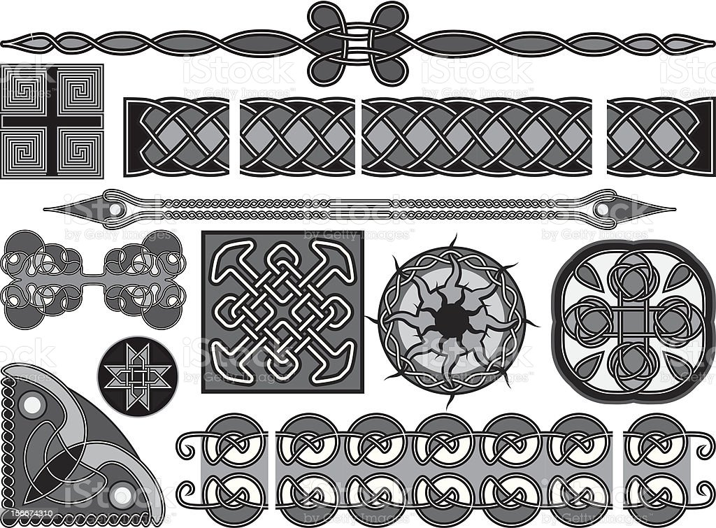 Elements of design in medieval celtic royalty-free stock vector art
