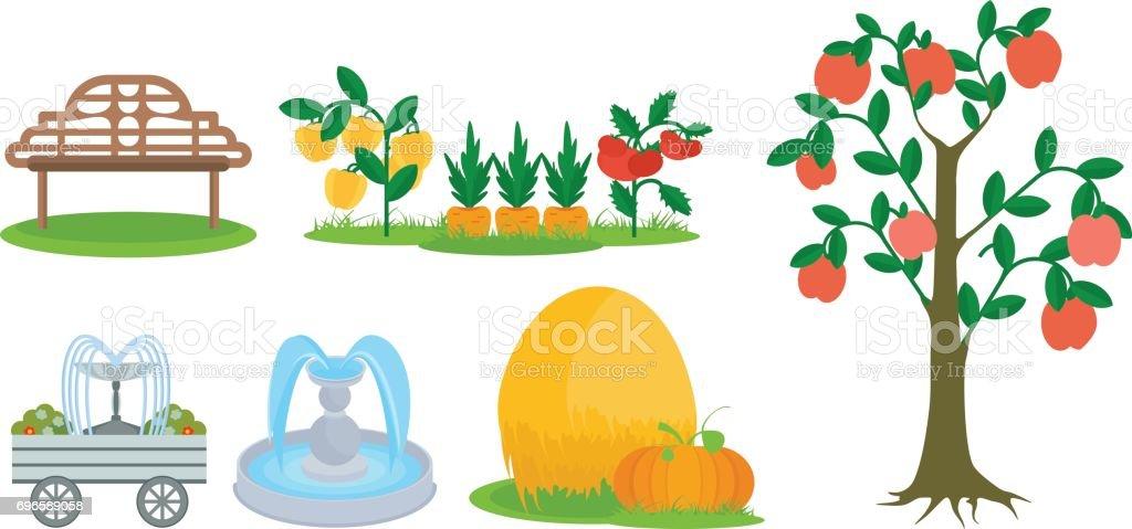 Elements of farm plot, bench for rest, fruit trees, fountains vector art illustration