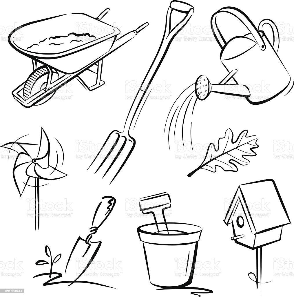 Elements of Garden vector art illustration