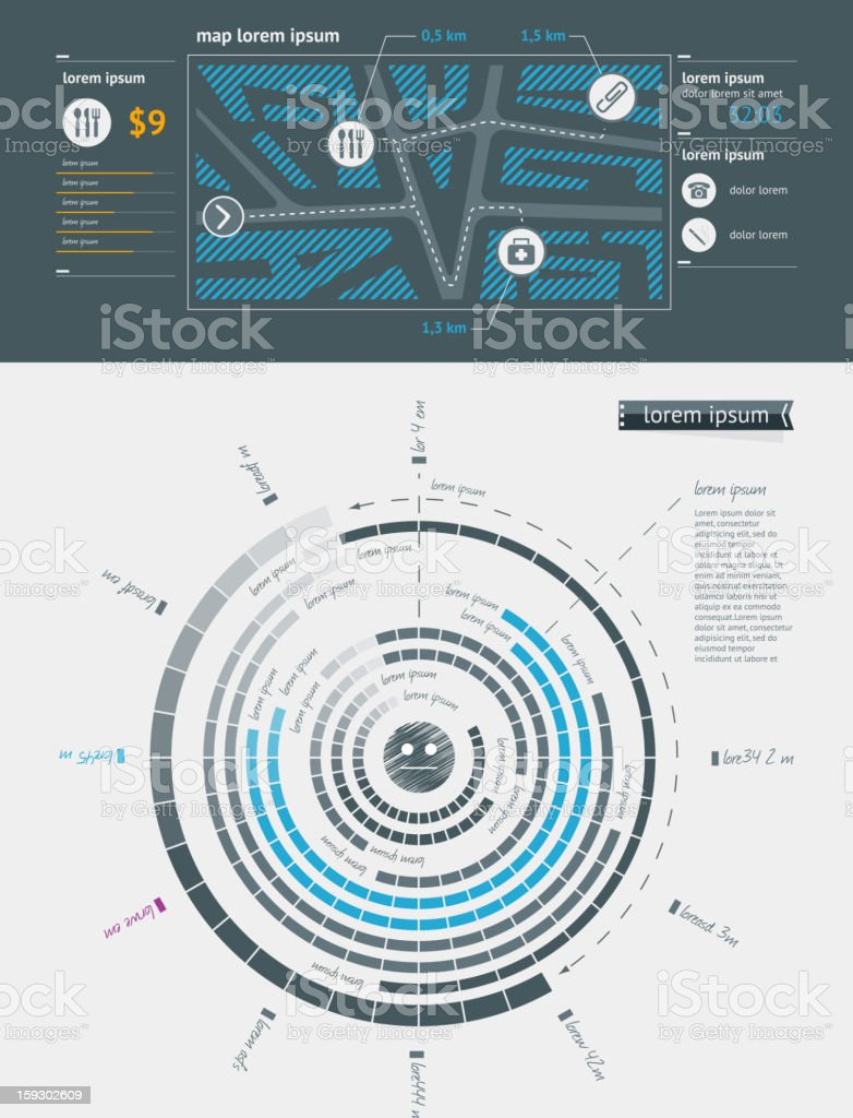 Elements of Infographics with buttons and menus royalty-free stock vector art