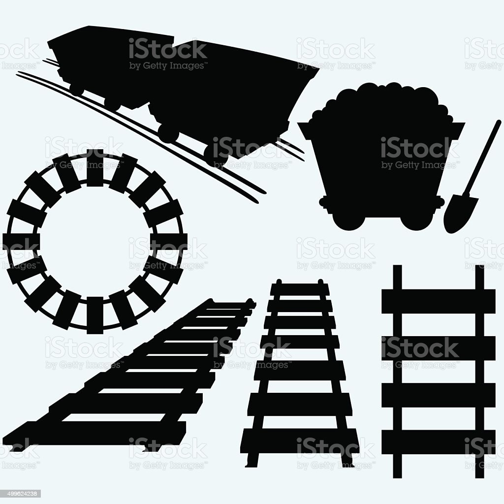 Elements of the railway vector art illustration