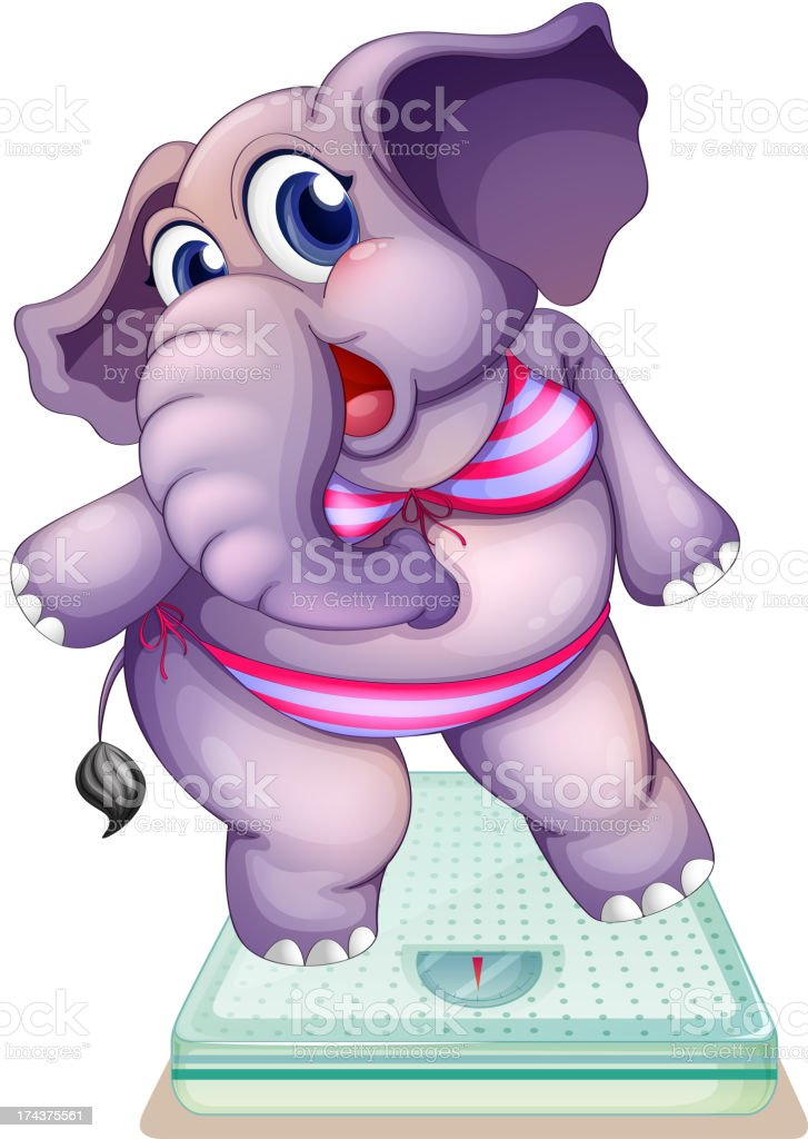 Elephant above the weighing scale royalty-free stock vector art