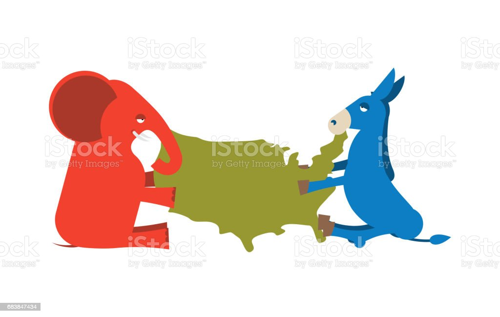 Elephant And Donkey Divided Map Of America Usa Political Party - Us map by political party