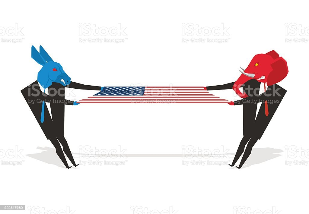 Elephant and donkey pulled american flag. Democrats and Republic vector art illustration