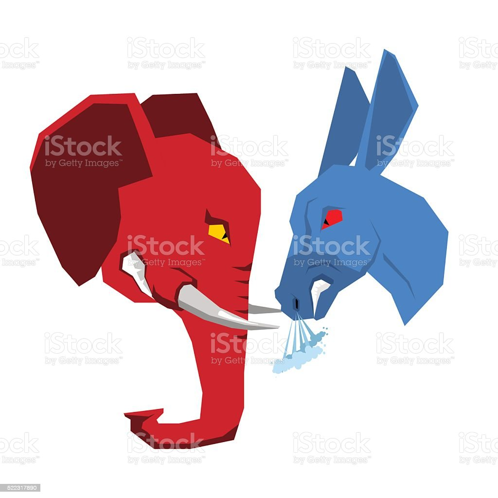 Elephant and Donkey. Republicans and Democrats opposition. Polit vector art illustration