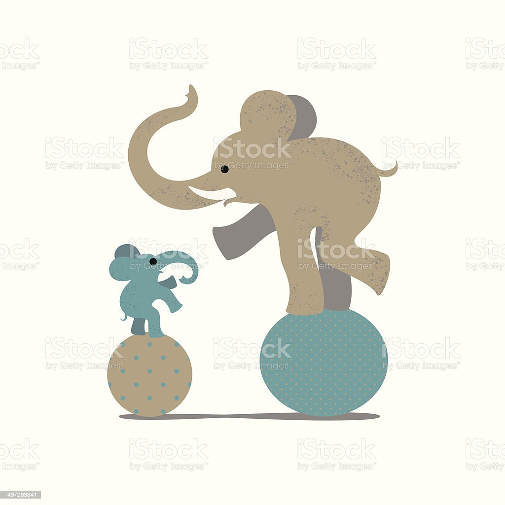 Elephant and elephant calf stending on sphere royalty-free stock vector art