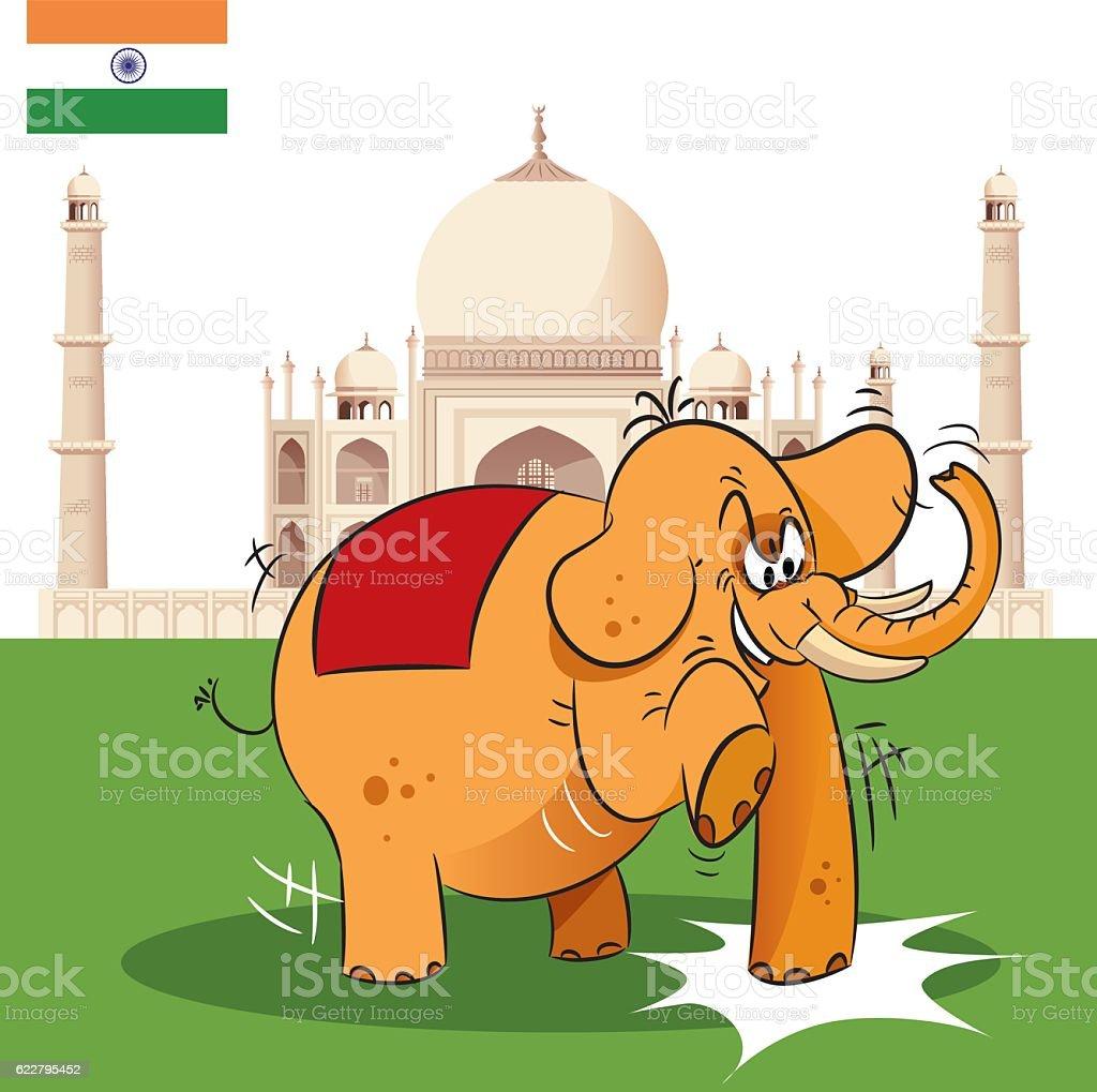 Elephant and India vector art illustration
