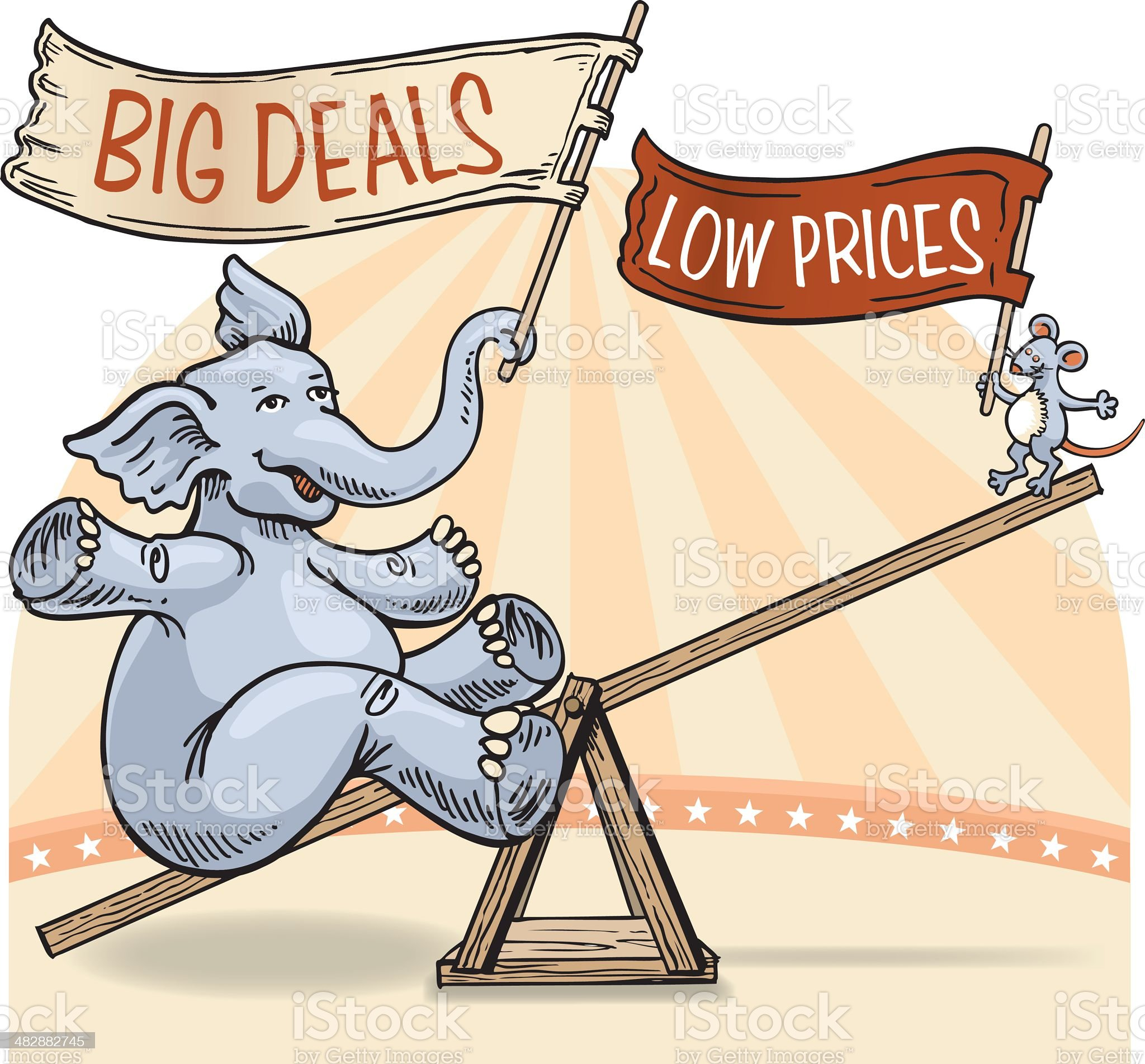 Elephant and Mouse 'Big Deals' Sale Illustration royalty-free stock vector art
