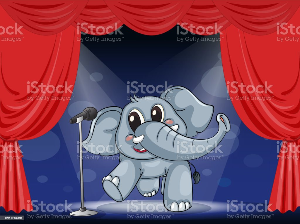 Elephant at the stage royalty-free stock vector art