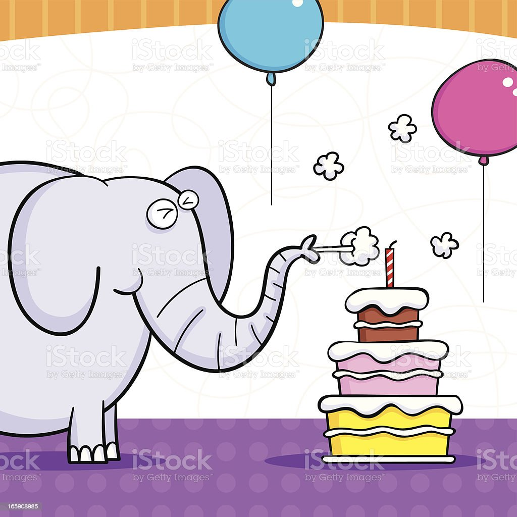 Elephant cake vector art illustration