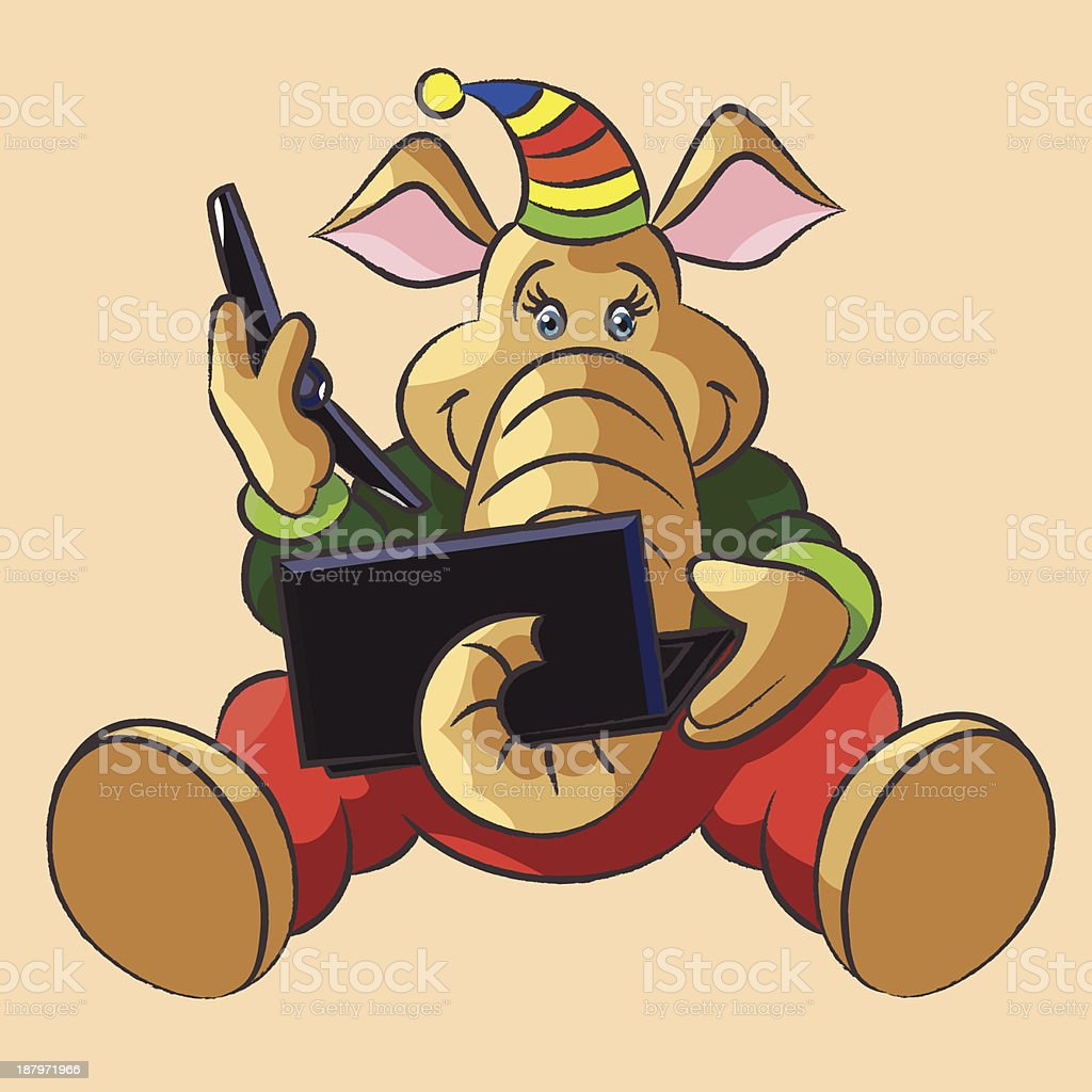 Elephant calf and laptop royalty-free stock vector art