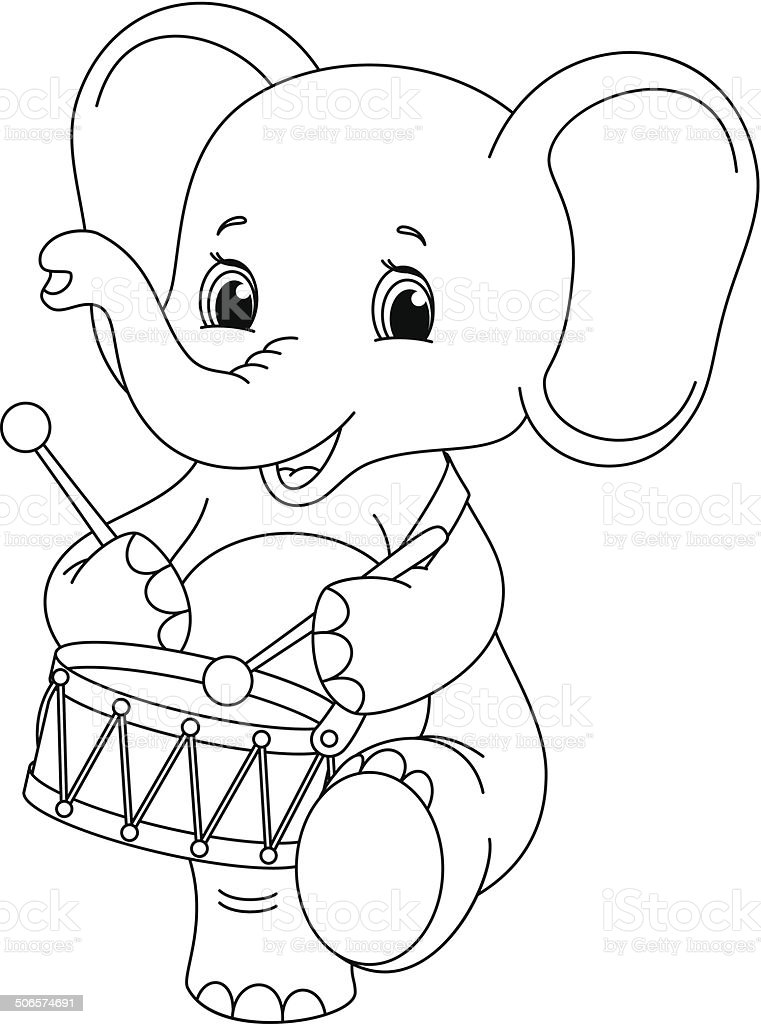 elephant coloring page royalty-free stock vector art