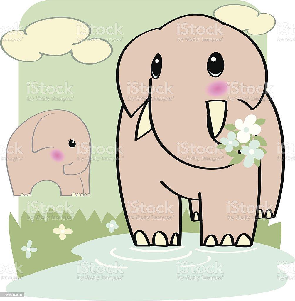 elephant couple in love royalty-free stock vector art