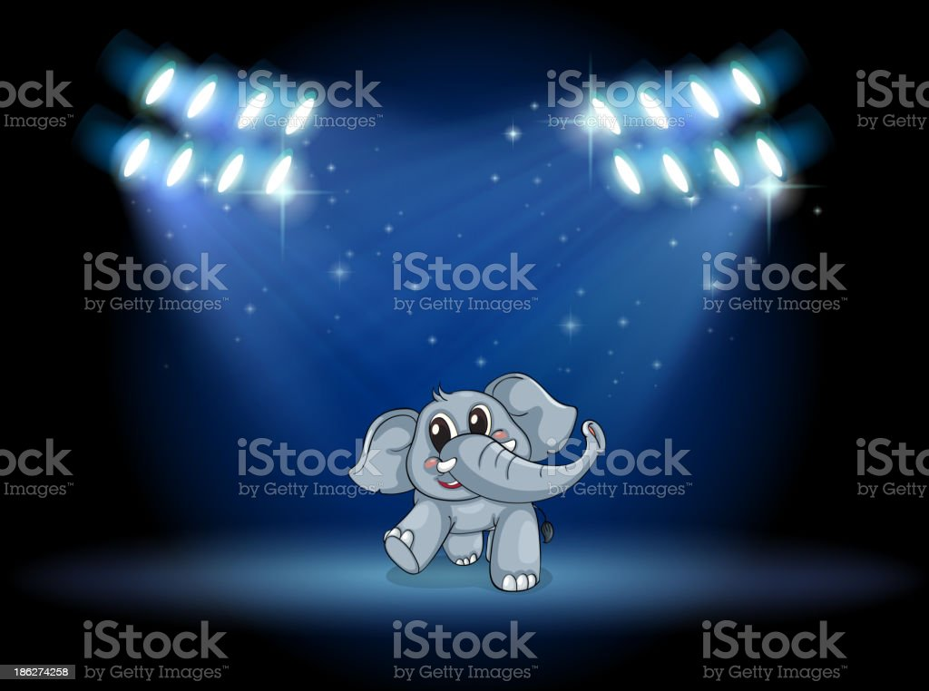 elephant dancing at stage under the spotlights royalty-free stock vector art