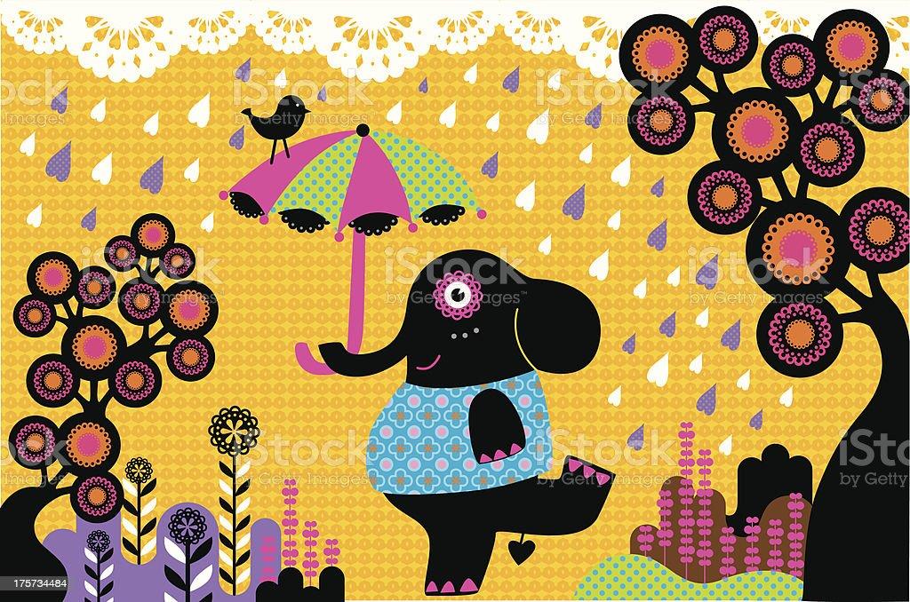 Elephant dancing in the rain royalty-free stock vector art