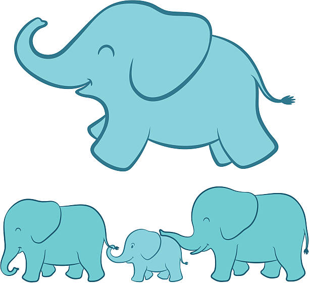 Elephant Family Clip Art, Vector Images & Illustrations ...