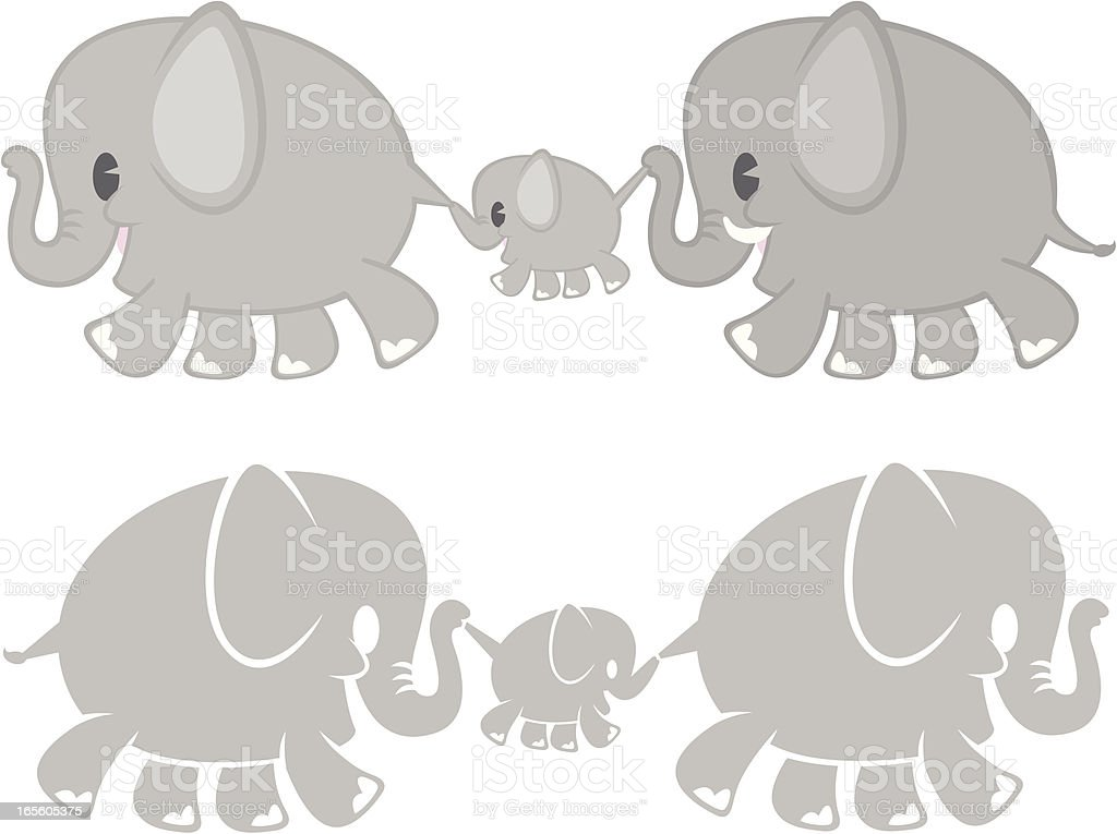 Elephant Family royalty-free stock vector art