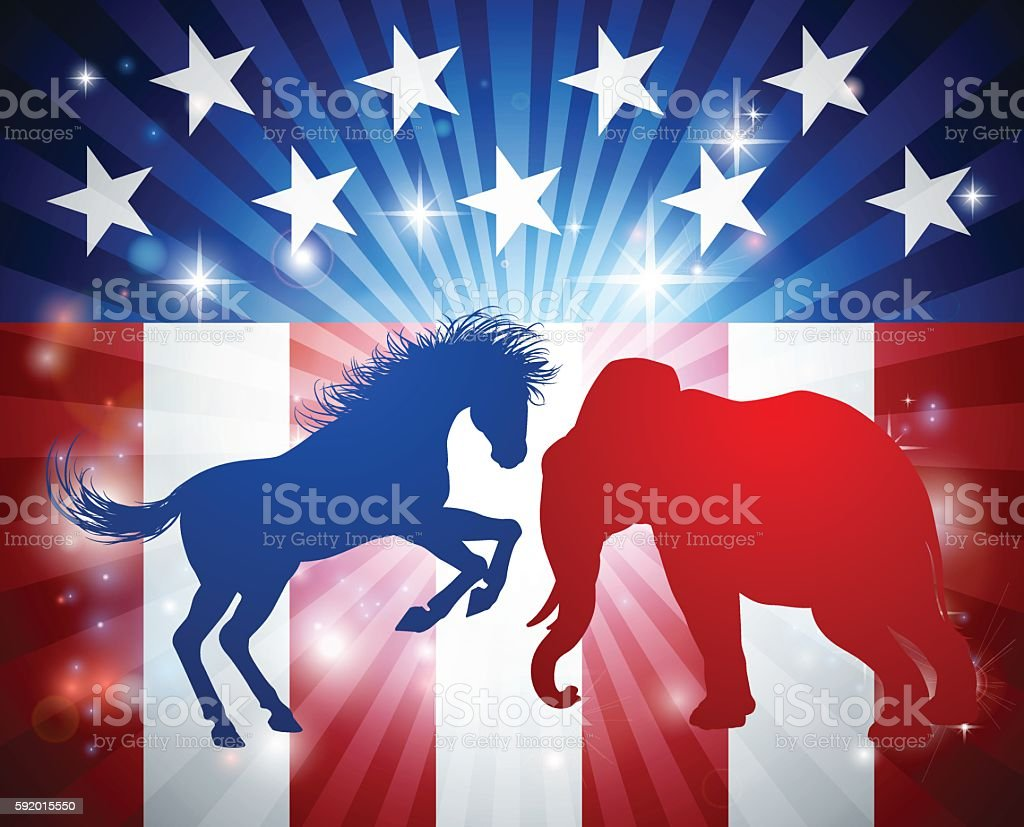 Elephant Fighting Jackass Donkey Election Concept vector art illustration