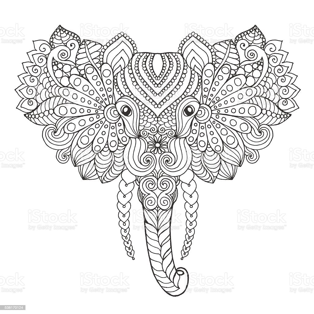 Elephant head. vector art illustration