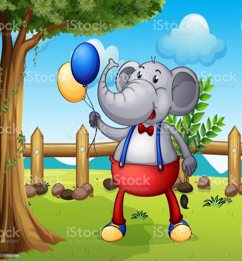 Elephant holding balloons royalty-free stock vector art