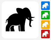 Elephant Icon Flat Graphic Design