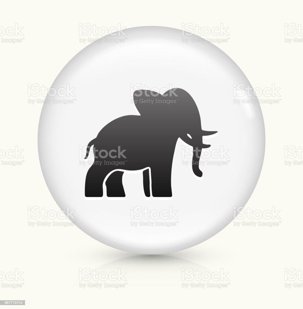 Elephant icon on white round vector button vector art illustration