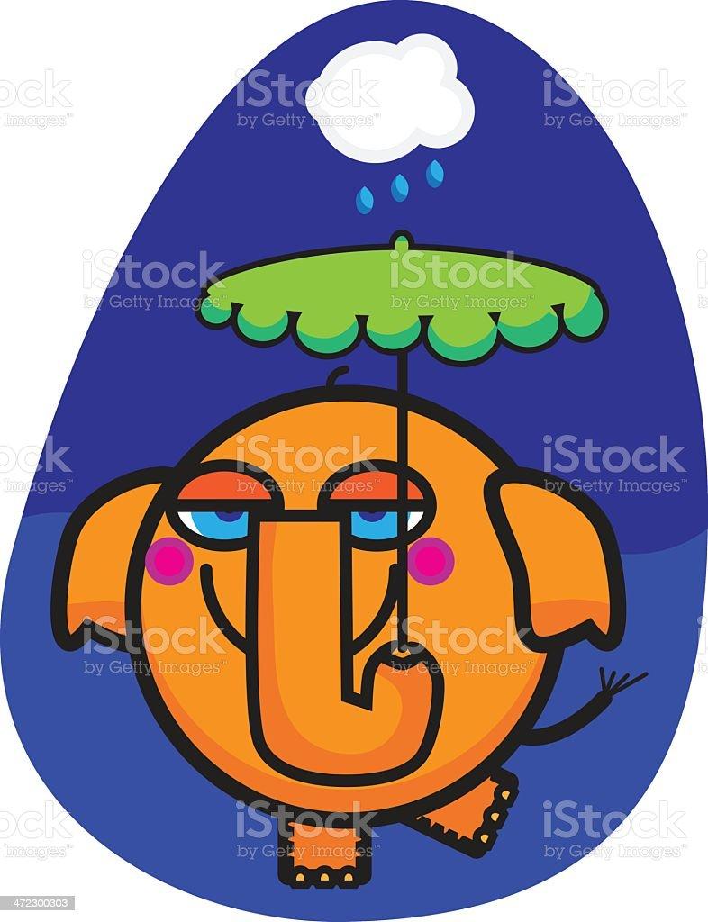 Elephant in the Rain royalty-free stock vector art
