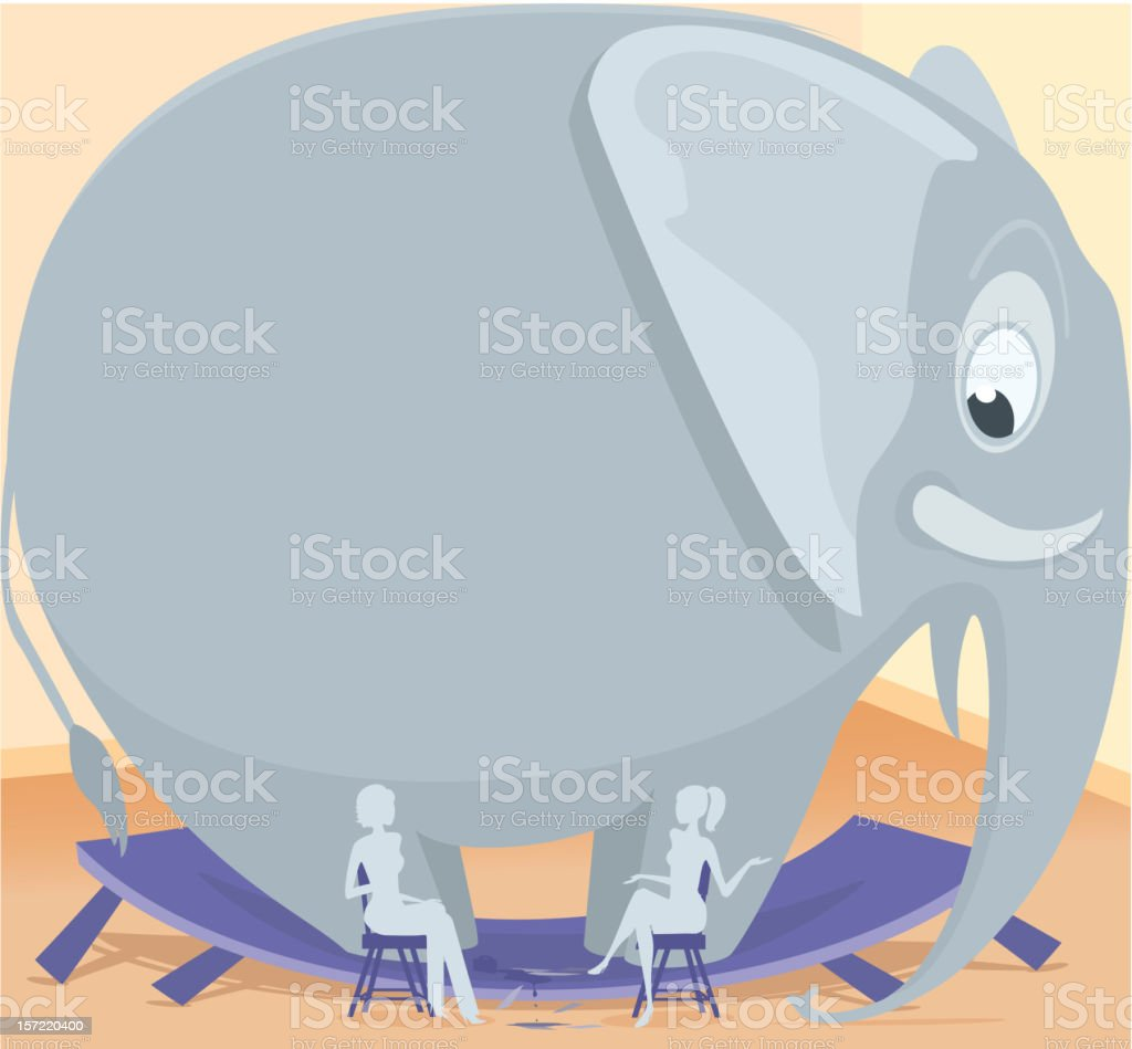 Elephant in the room vector art illustration