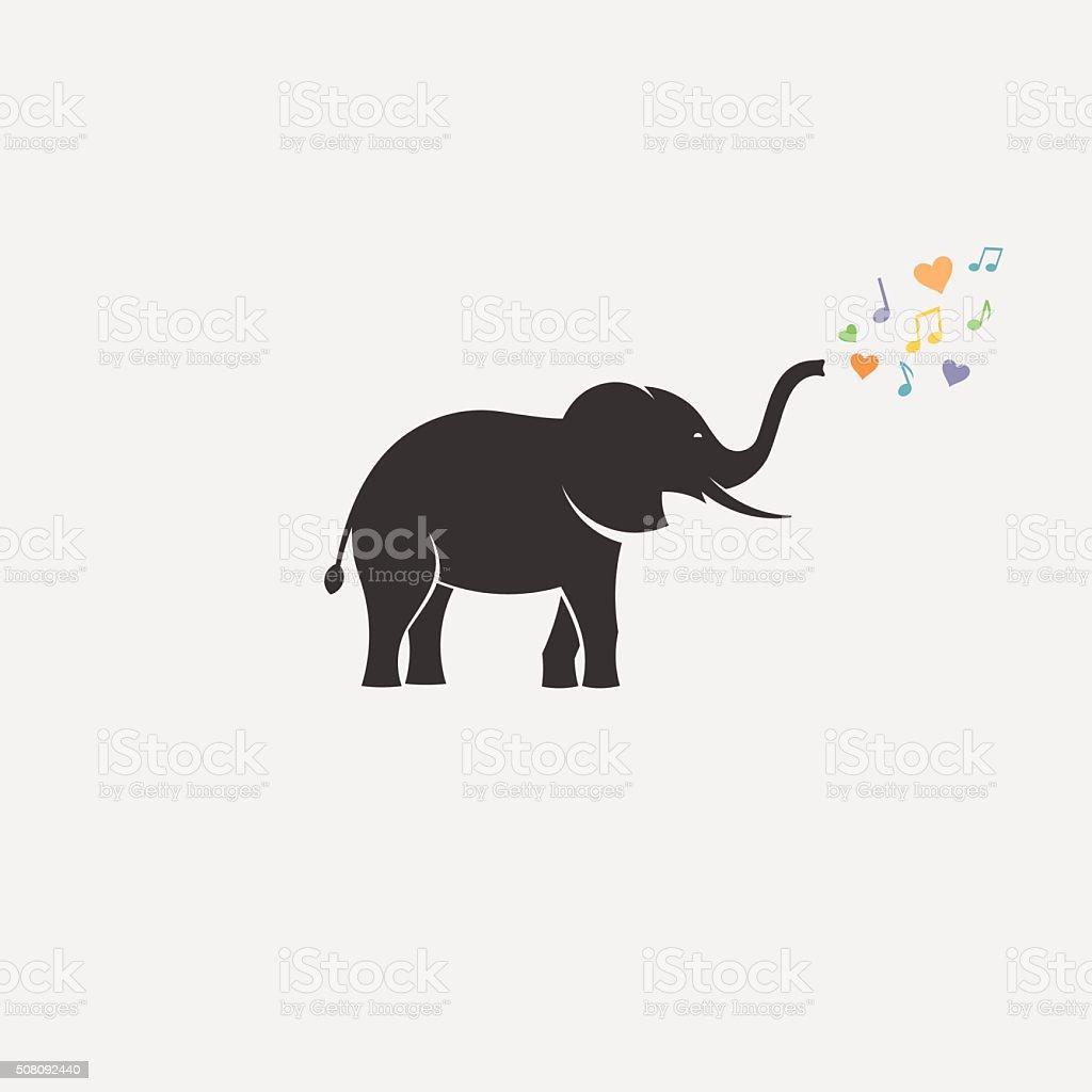 elephant love minimal silhouette vector art illustration