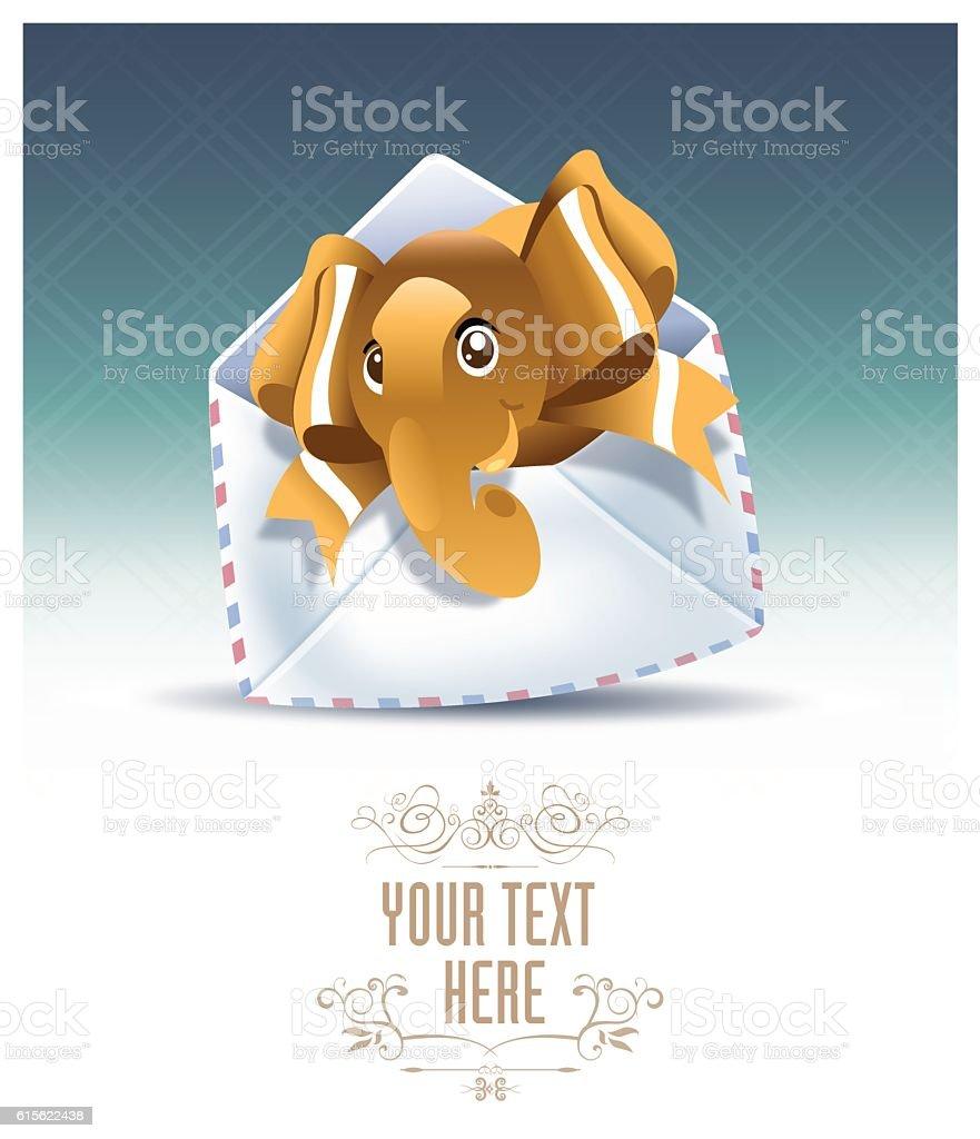 Elephant mail vector art illustration