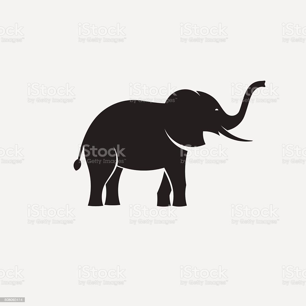 elephant minimal silhouette vector art illustration