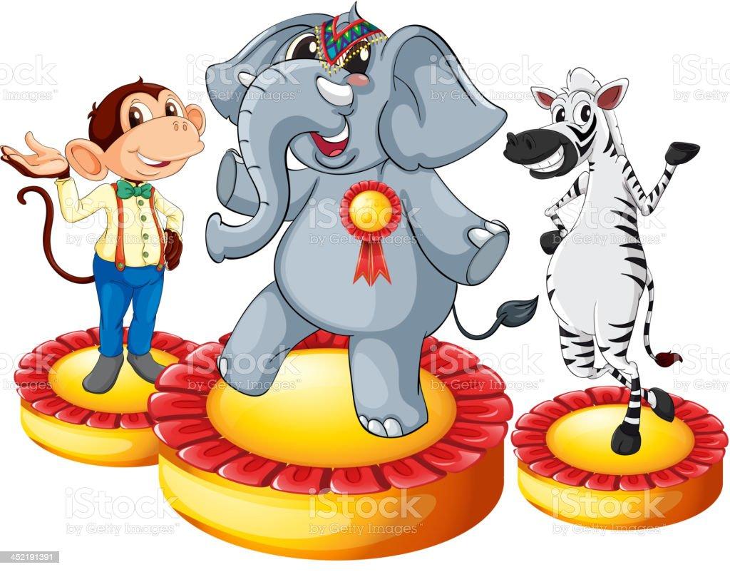 Elephant monkey zebra royalty-free stock vector art