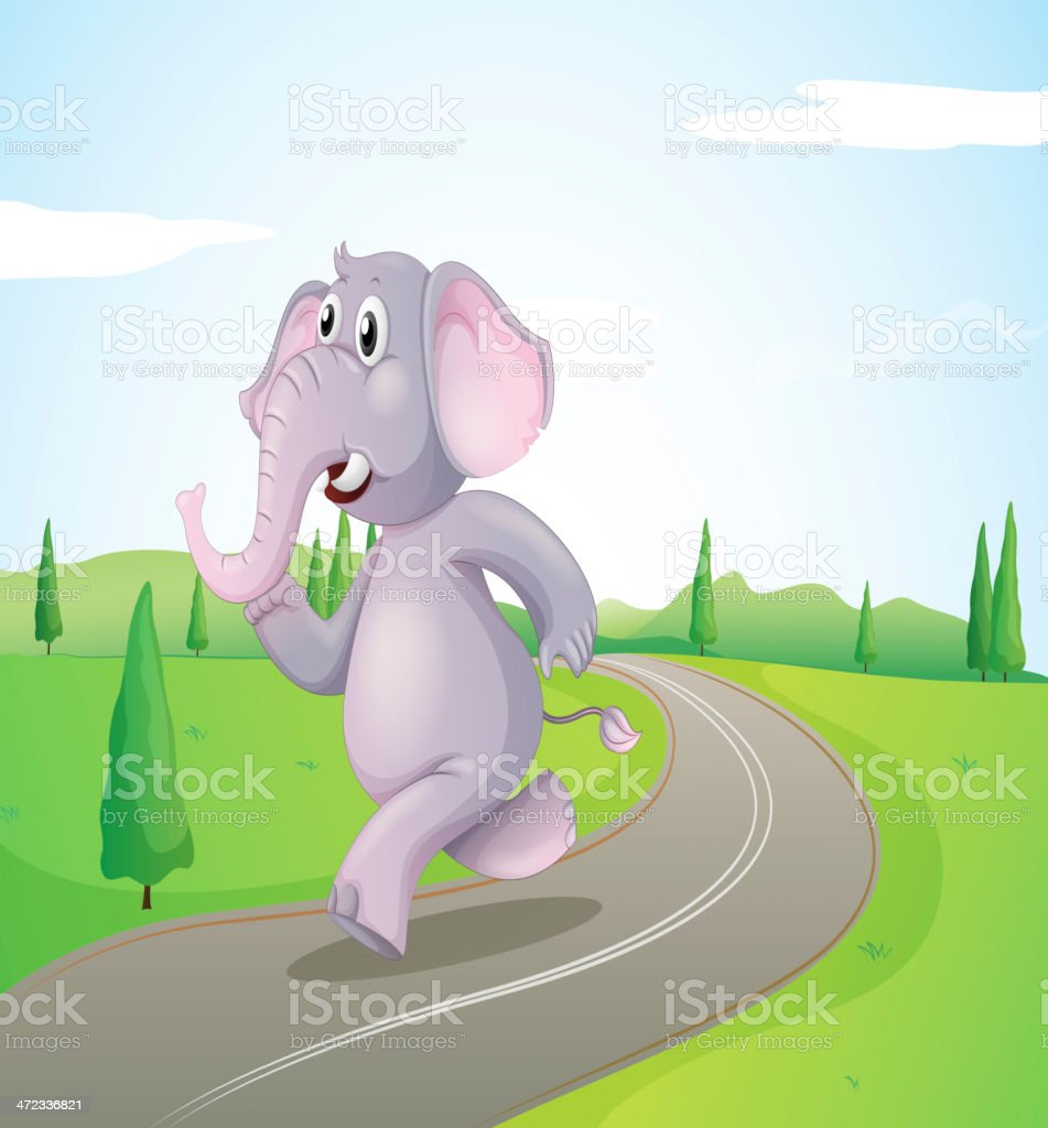 Elephant running at the road royalty-free stock vector art