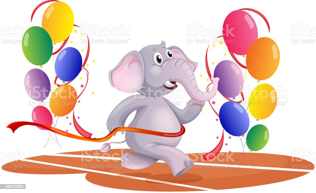 elephant running with balloons royalty-free stock vector art