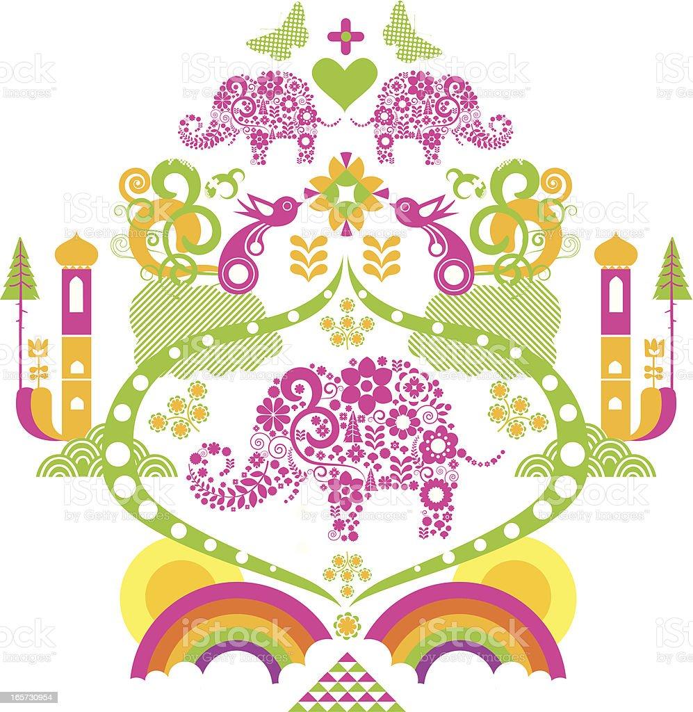 elephant scroll royalty-free stock vector art