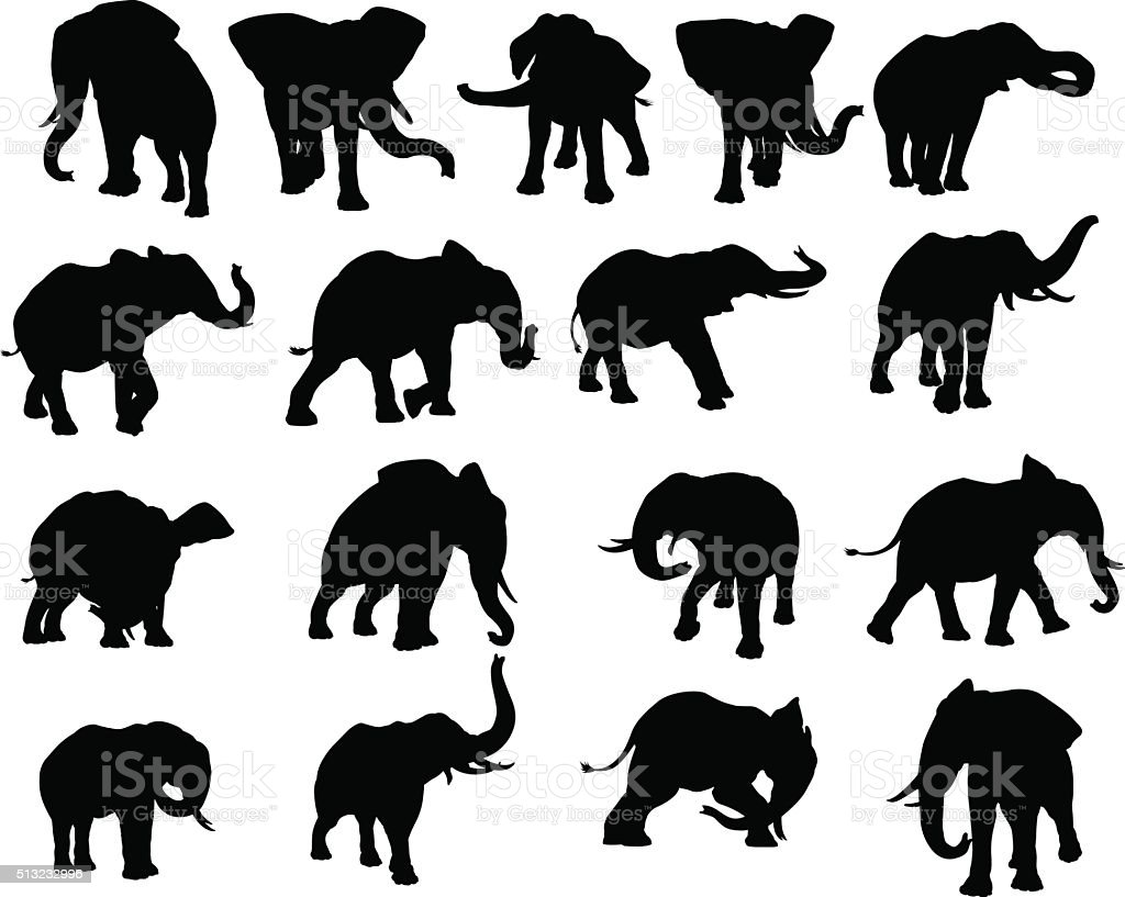 Elephant Silhouettes Set vector art illustration