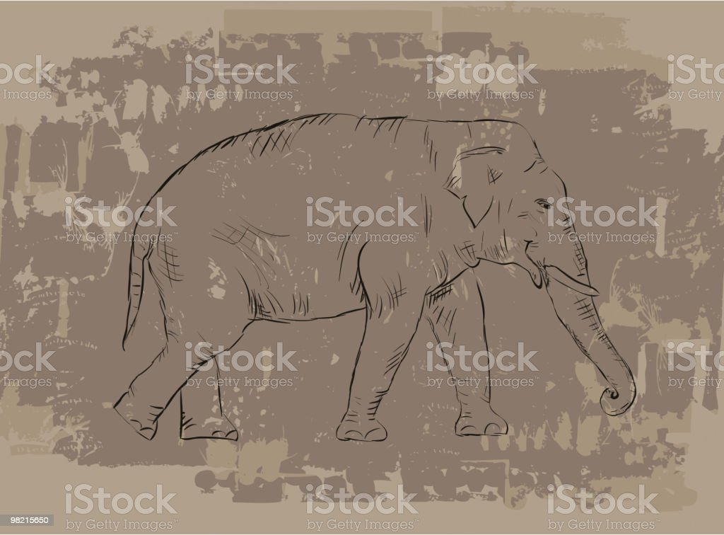 Elephant sketch on grunge background royalty-free stock vector art