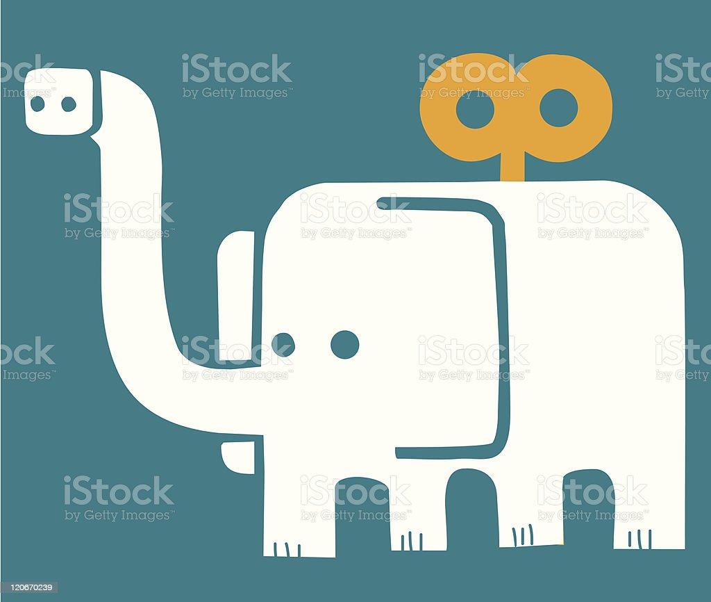 Elephant toy with key vector art illustration