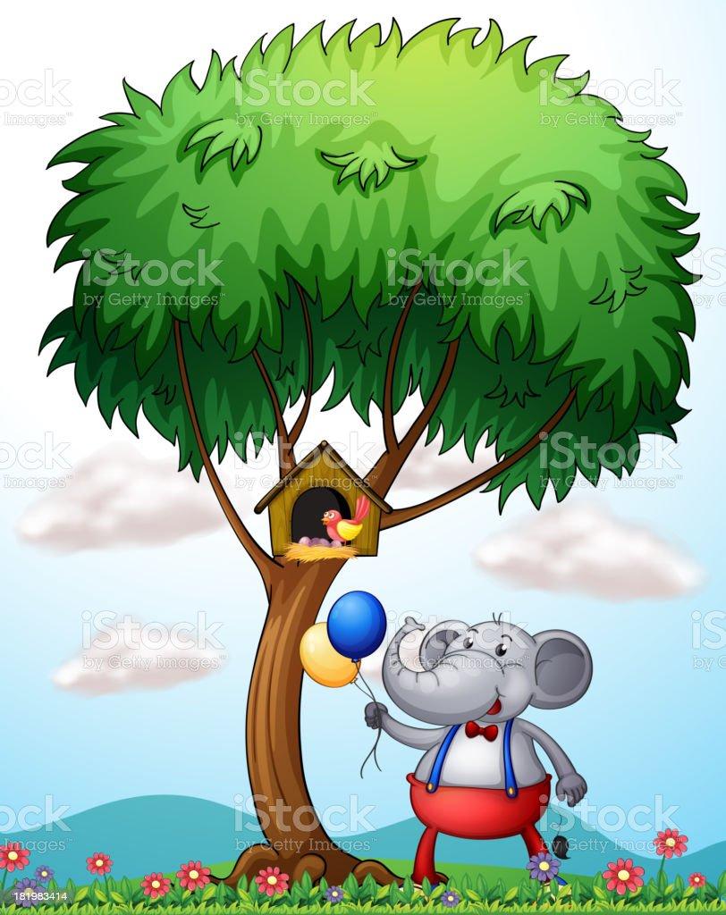 elephant under the tree royalty-free stock vector art