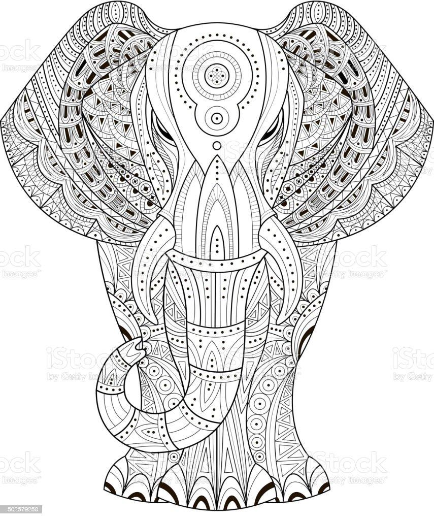 Elephant Vector illustration. Hand drawn design elements vector art illustration
