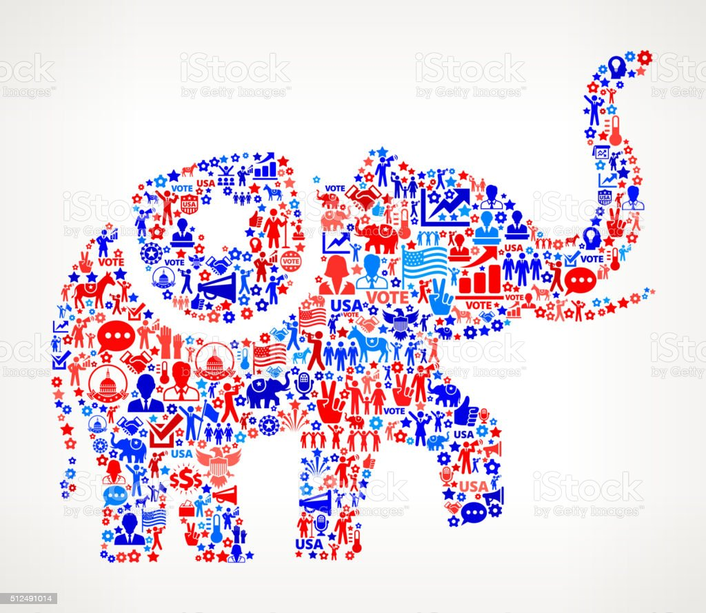 Elephant Vote and Elections USA Patriotic Icon Pattern vector art illustration