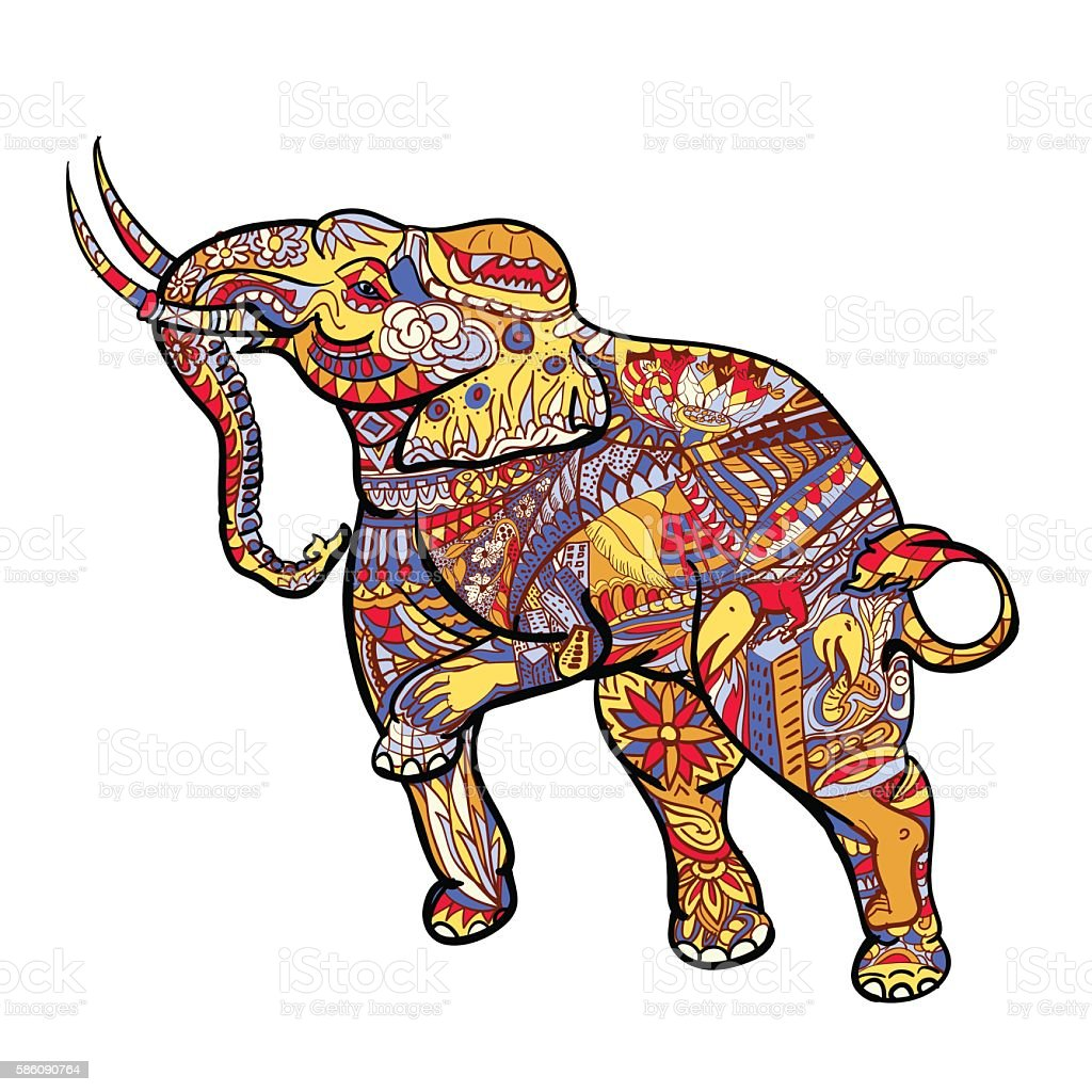 Elephant With Elegant Decorative Pattern With Posting Of ...