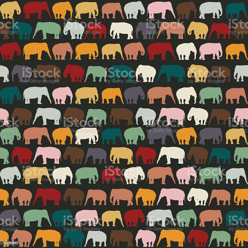 Elephants texture vector art illustration