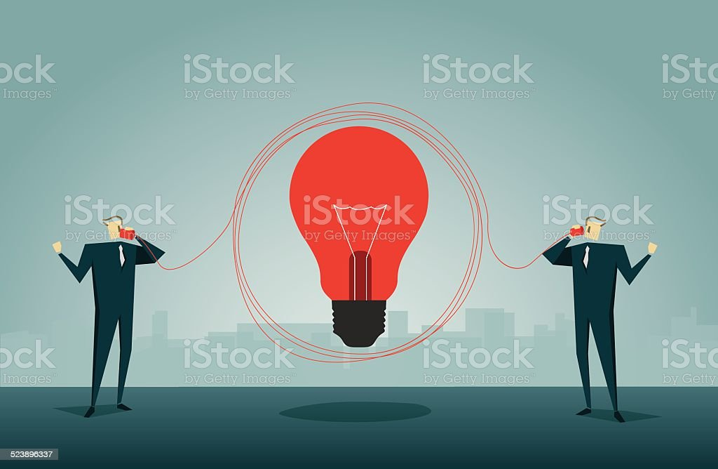 elephone,Solution,Office Worker,Connection,Lamp vector art illustration