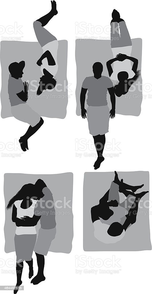Elevated view of a romantic couple royalty-free stock vector art