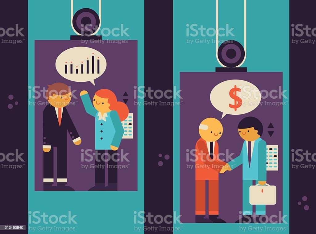 Elevator Talk vector art illustration