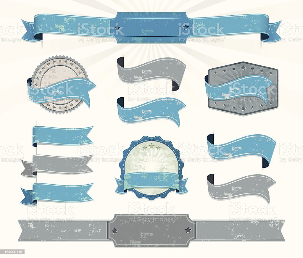 Eleven blue and gray retro ribbons royalty-free stock vector art