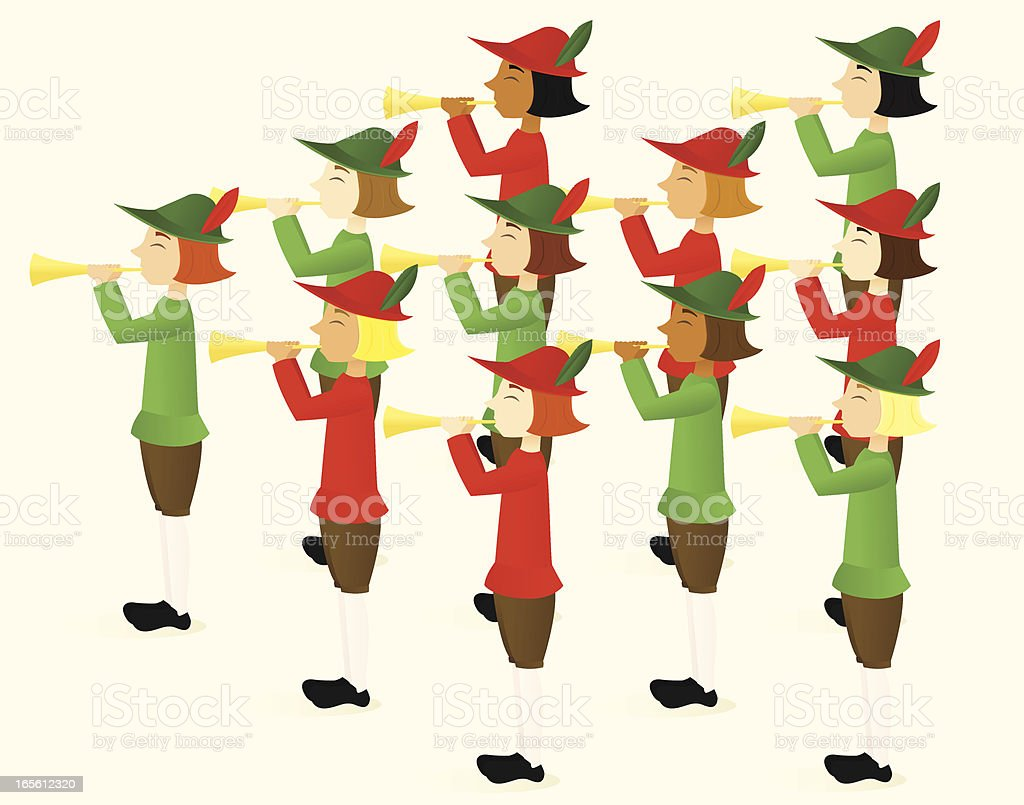 Eleven Pipers Piping royalty-free stock vector art