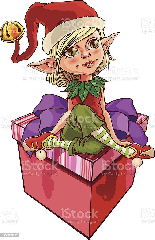 Elf and gift vector art illustration