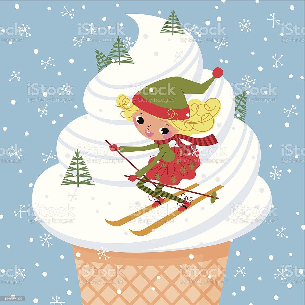 Elf and Skis vector art illustration